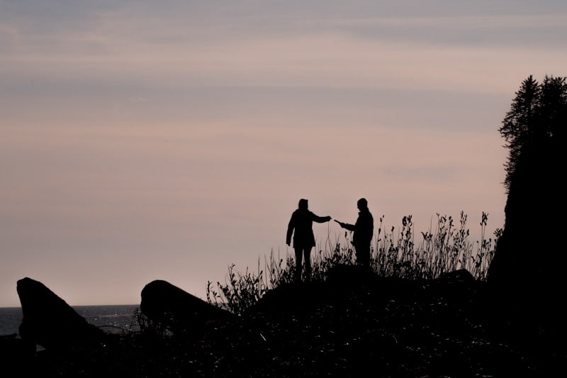 A silhouette of a couple grabbing hands.
